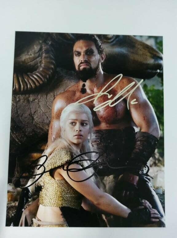 FOTO jason momoa emilia clarke Game of Thrones Autografata Signed + COA Photo jason momoa emilia clarke Game of Thrones Autografato Signed