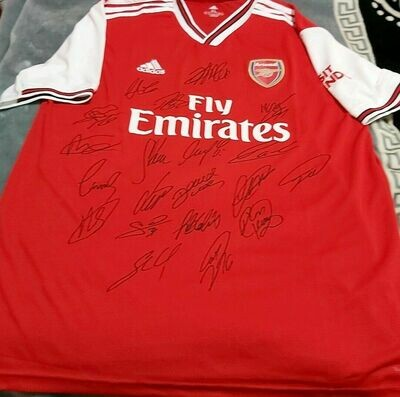 Maglia Replica  ARSENAL  MAGLIA CASA 2019 2020 JERSEY HOME SIGNED TEAM AUTOGRAPHS TEAM  with  COA certificate ARSENAL 19 20 Signed Team