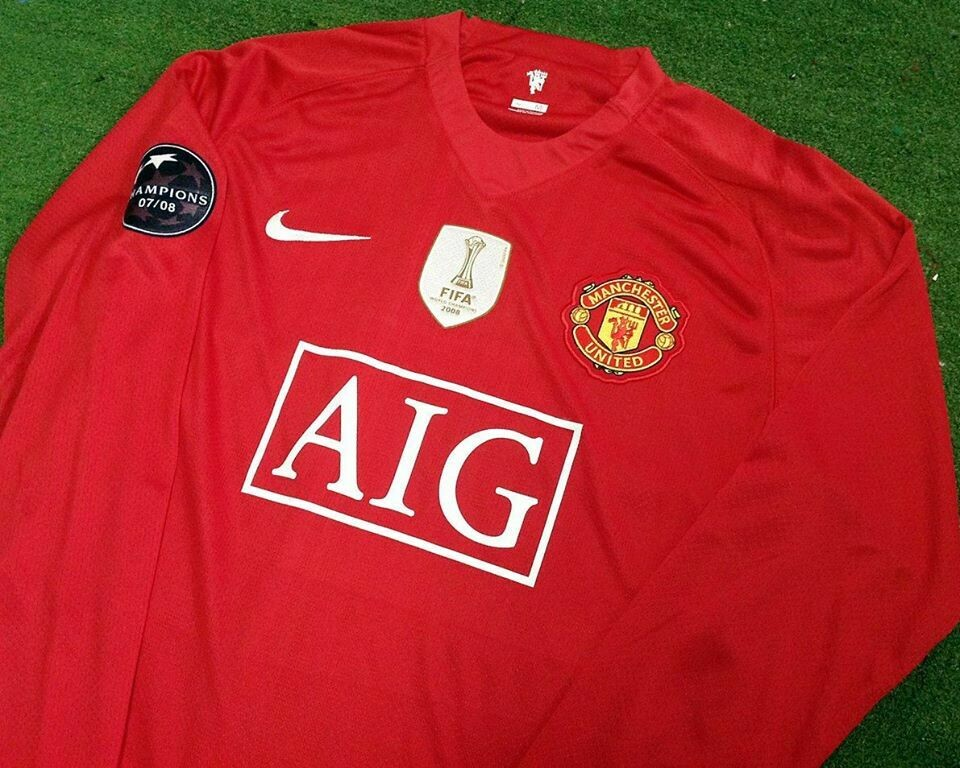 MANCHESTER UNITED MAN UTD JERSEY HOME MAGLIA CASA  FIFA  WORLD CUP 2008 LONG SLEEVES FIFA  WORLD CUP 08 MAN LUNGHE