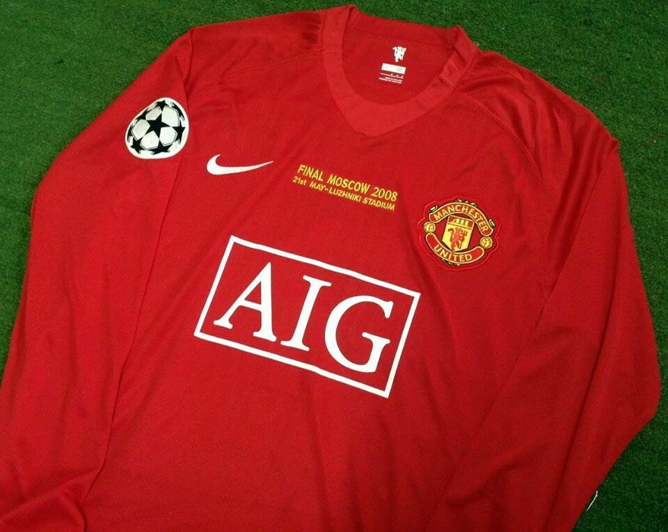 MANCHESTER UNITED MAN UTD JERSEY HOME MAGLIA CASA  FINAL MOSCOW 2008 LONG SLEEVES FINALE MOSCA 08 MAN LUNGHE