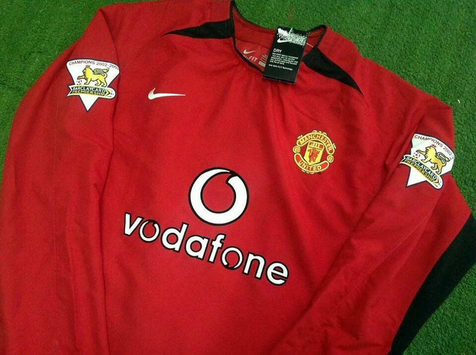MANCHESTER UNITED MAN UTD JERSEY HOME MAGLIA CASA 2002 2004 MANICHE LUNGHE LONG SLEEVES