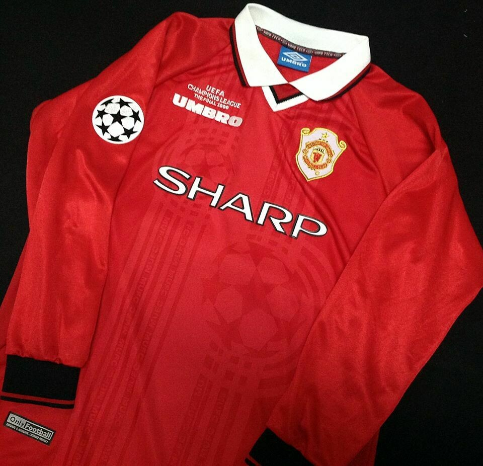 MANCHESTER UNITED MAN UTD JERSEY HOME THE  FINAL CHAMPIONS 1999 CHAMPIONS 99 MAN UTD FINAL MANICHE LUNGHE LONG SLEEVES