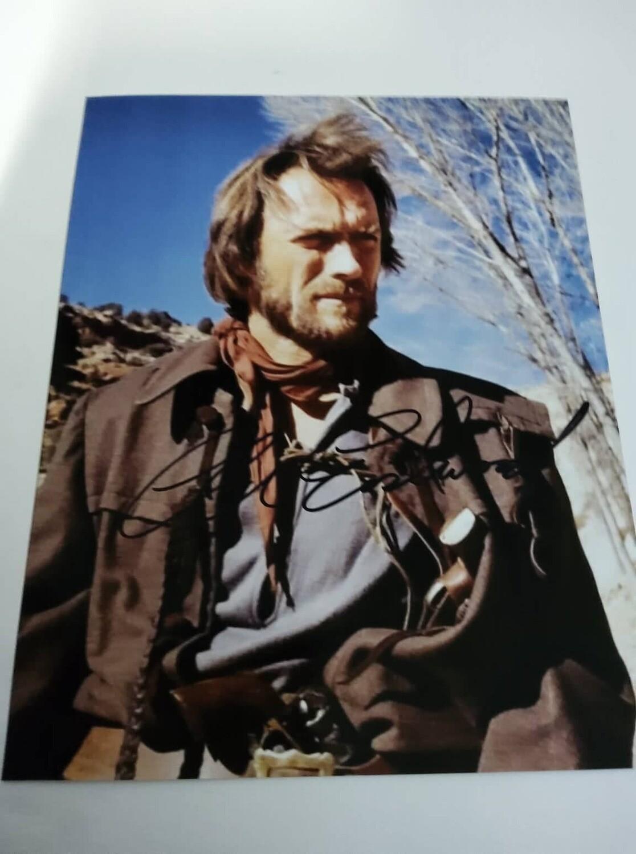 FOTO DER TEXANER 1975 Clint Eastwood Autografata Signed + COA Photo DER TEXANER 1975 Clint Eastwood Autografato Signed