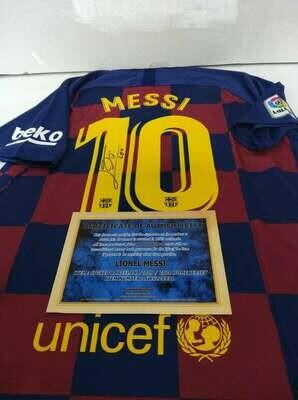 Maglia Barcelona Maglia Casa 2019 2020  Lionel Messi Autografata Signed wich COA certificate Barcelona Jersey Home 2019 2020 Lionel Messi Signed with coa