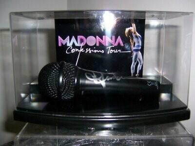 Microfono + Display Case MADONNA  Autografato Signed Autografato Signed Microphone MADONNA  Microfono COA certificate Signed Microphone + Case Signed Cantanti Singer Star