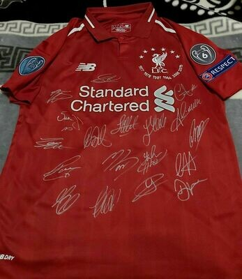 Maglia Replica  LIVERPOOL MAGLIA CASA CHAMPIONS JERSEY HOME SIGNED TEAM AUTOGRAPHS TEAM  with  COA certificate LIVERPOOL CHAMPIONS  Signed Team