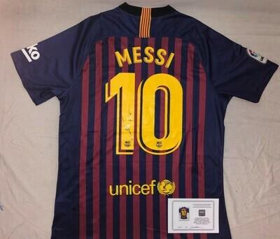 Maglia Barcelona Maglia Casa 2018 2019  Lionel Messi Autografata Signed wich COA certificate Barcelona Jersey Home 2018 2019 Lionel Messi Signed with coa