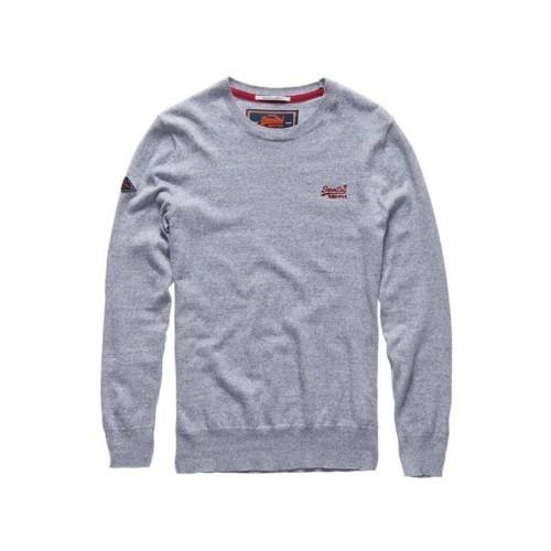 Superdry Orange Label Crew Neck Cashmere Blend Jumper in Grey