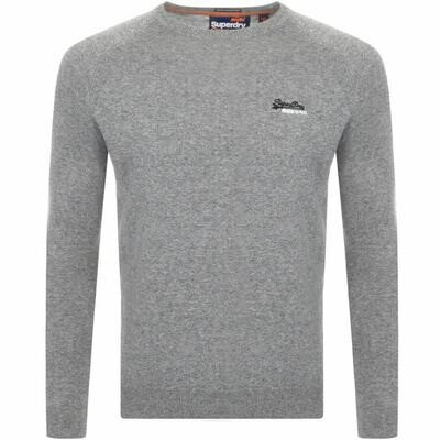 Superdry Orange Label Crew Neck Cotton Jumper in Ash Charcoal Grey
