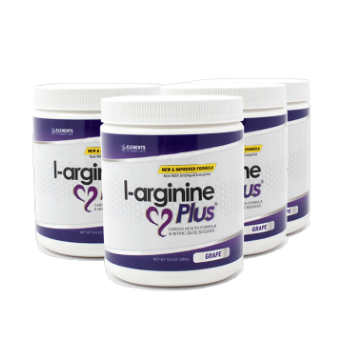 4 tubs of L-Arginine Plus™ (120 day supply) – Choice of Lemon Lime, Raspberry or Grape Flavours