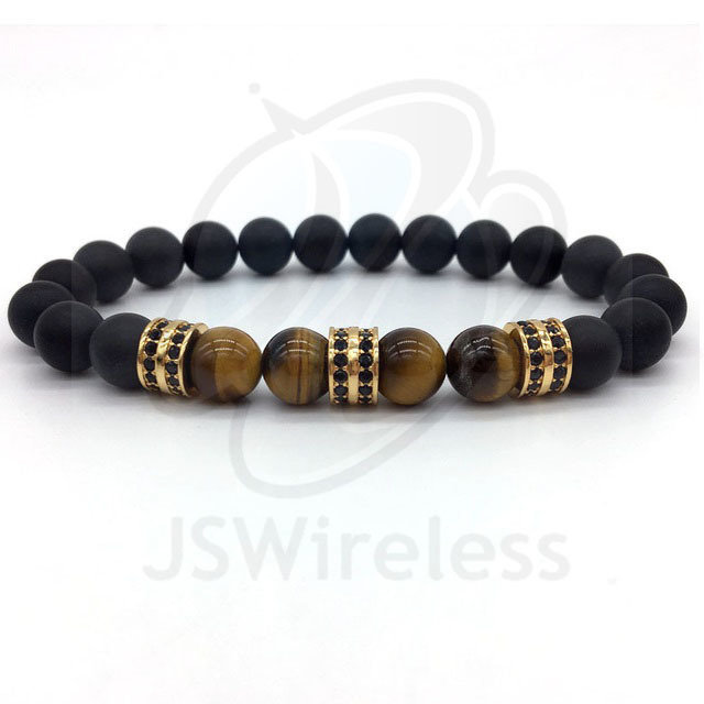Gold Fashion Pave CZ Men Bracelet 8mm Stone Beads