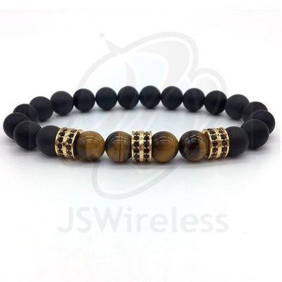 Gold Fashion Pave CZ Men Bracelet 8mm Stone Beads