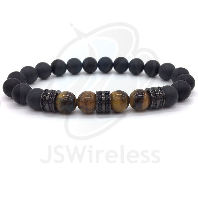 Black Fashion Pave CZ Men Bracelet 8mm Stone Beads