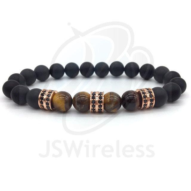 Rose Gold Fashion Pave CZ Men Bracelet 8mm Stone Beads
