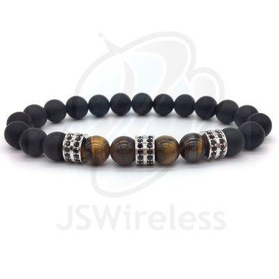 Silver Fashion Pave CZ Men Bracelet 8mm Stone Beads