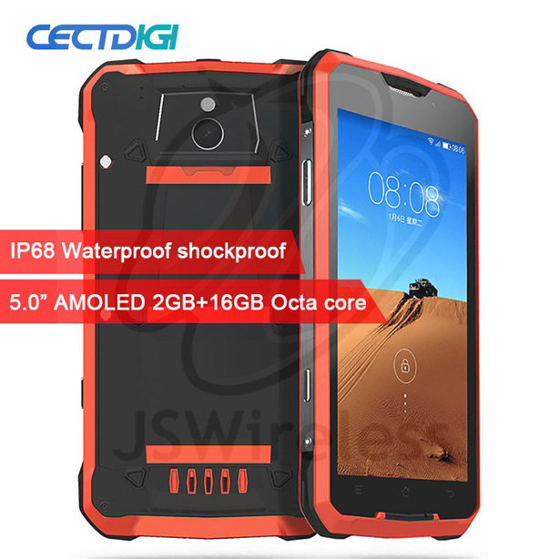 Smartphone IP68 Waterproof Shockproof 5.0 inch AMOLED MTK6752 Octa Core 2GB RAM 16G ROM Dual 4G 16.0MP Camara