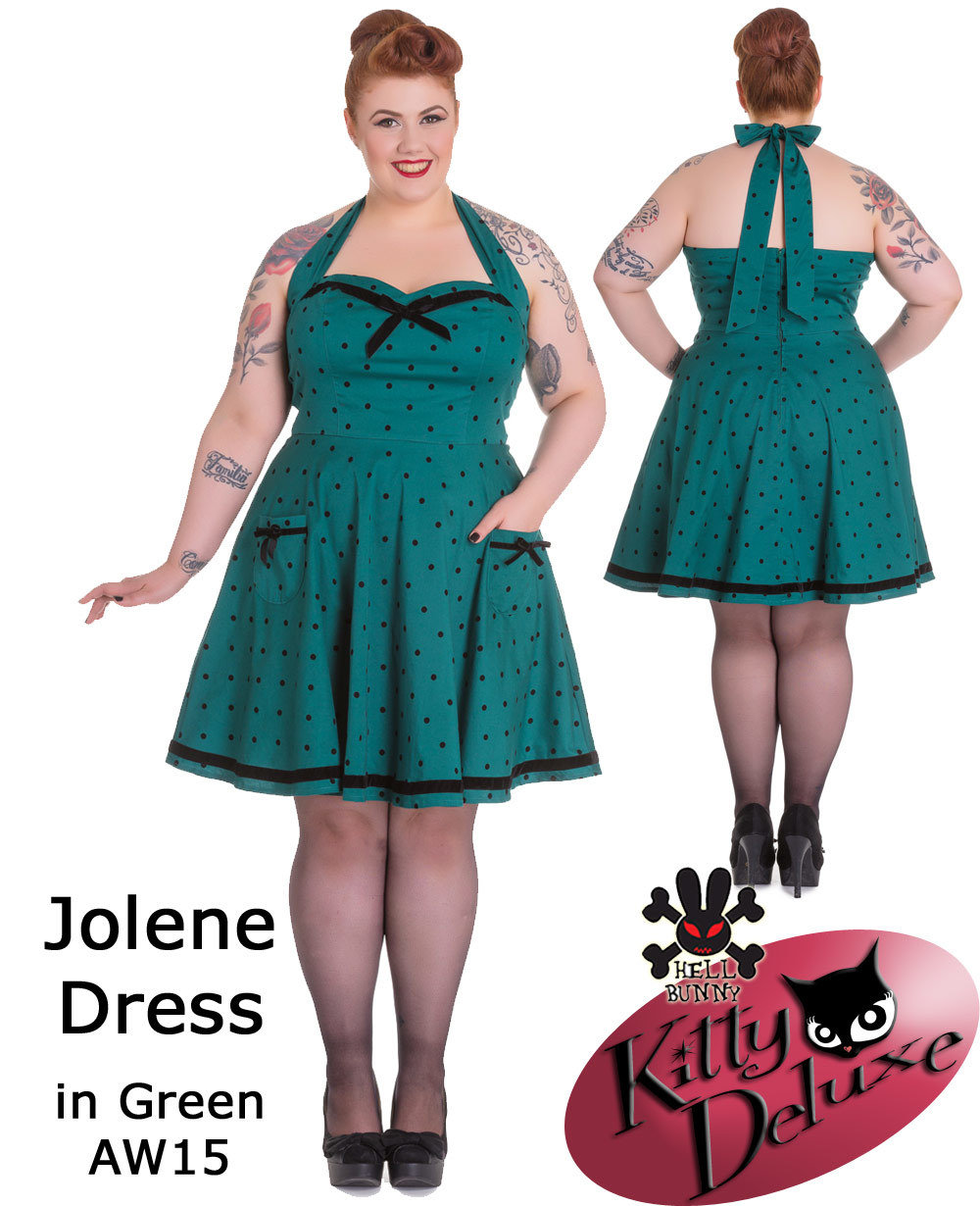 Super Special  Hell Bunny Jolene Dress in Green with Polka dots and black  accents PLUS SIZES 0e644f5d4