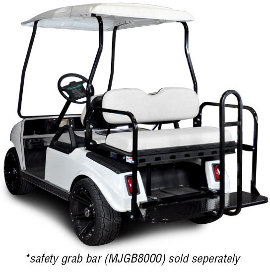 Genesis 150 Rear Flip Seat with White Cushion. Will fit Club Car® DS™ Golf Carts