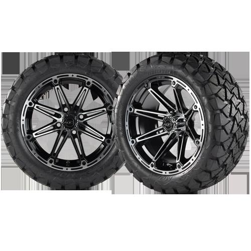 ELEMENT 14x7 Machined Black w/ 22x10x14 Timber Wolf A/T Tire