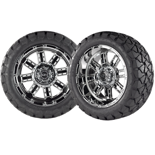 TRANSFORMER 14x7 Chrome w/ 22x10x14 Timber Wolf A/T Tire