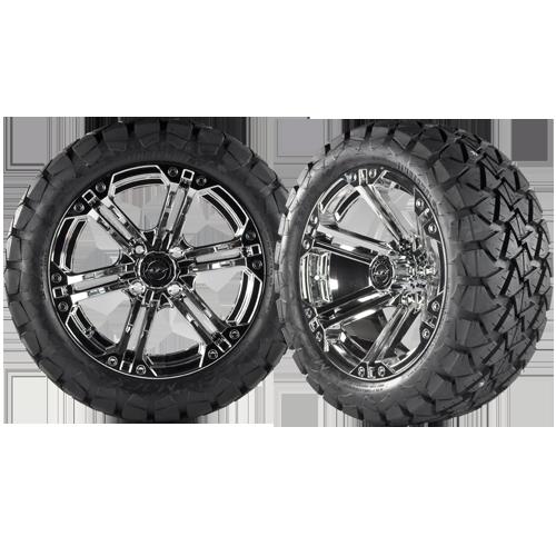 NITRO 14x7 Chrome w/ 22x10x14 Timber Wolf A/T Tire