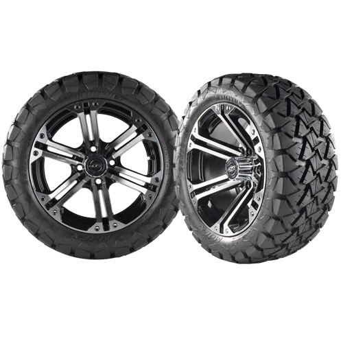 NITRO 14x7 Machined Black w/ 22x10x14 Timber Wolf A/T Tire