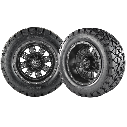 TRANSFORMER 12x7 Matte Black w/ 22x10x12 Timber Wolf A/T Tire