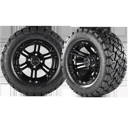 NITRO 12x7 Black w/ 22x10x12 Timber Wolf A/T Tire