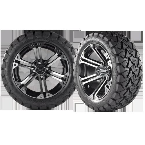 NITRO 12x7 Machined Black w/ 22x10x12 Timber Wolf A/T Tire