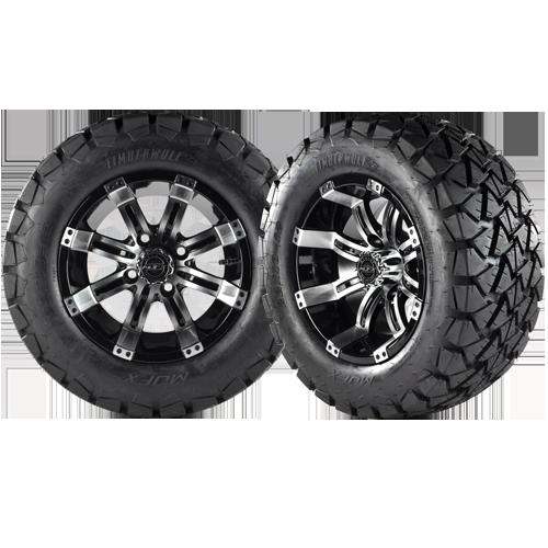 OCTANE 12x7 Machined Black w/ 22x10x12 Timber Wolf A/T Tire