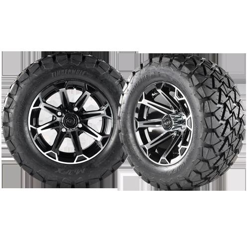 VORTEX 12x7 Machined Black w/ 22x10x12 Timber Wolf A/T Tire