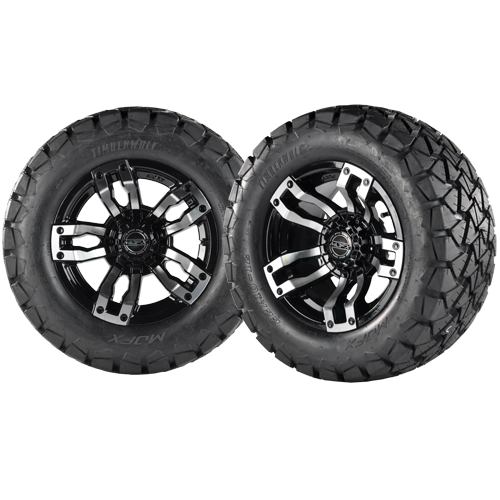 VELOCITY 12x7 Machined Black w/ 22x10x12 Timber Wolf A/T Tire