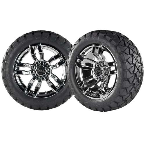 VELOCITY 12x7 Chrome w/ 22x10x12 Timber Wolf A/T Tire