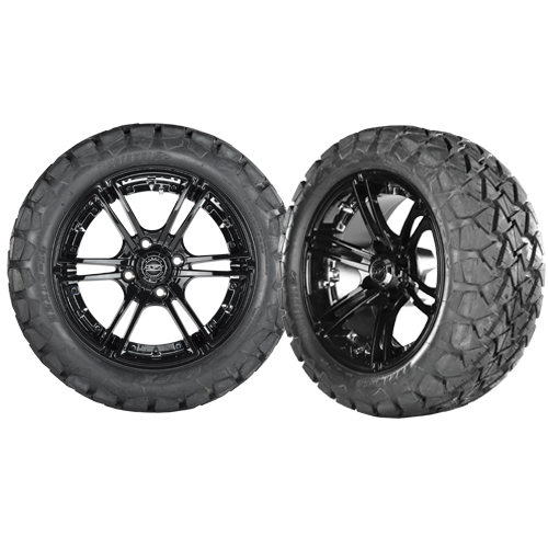 MIRAGE 14x7 Black w/ 225/30/14 Cobra Street Tire