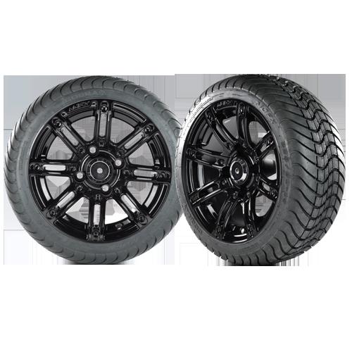 ILLUSION 14x7 Black wheel w/ 225/30/14 Cobra Street Tire