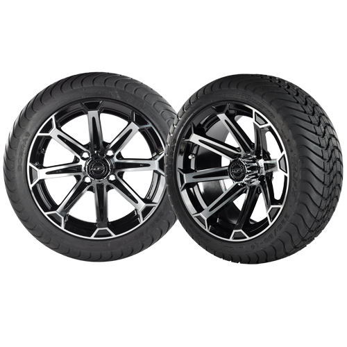 VORTEX 14x7 Machined Black w/ 225/30/14 Cobra Street Tire