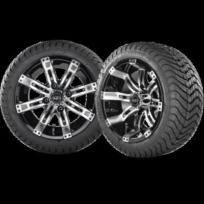 OCTANE 12x7 Machined Black w/ 215/35/12 Cobra Street Tire