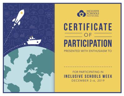 Inclusive Schools Week Certificates (30 count)