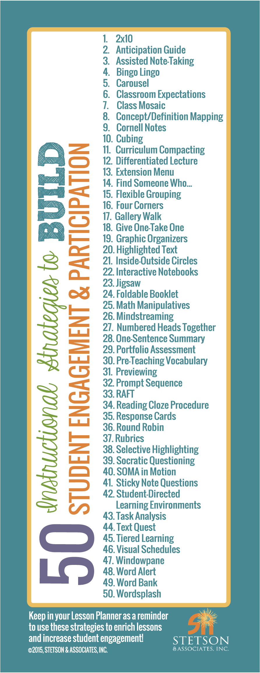 50 Instructional Strategies to Build Student Engagement & Participation Bookmark 0000002