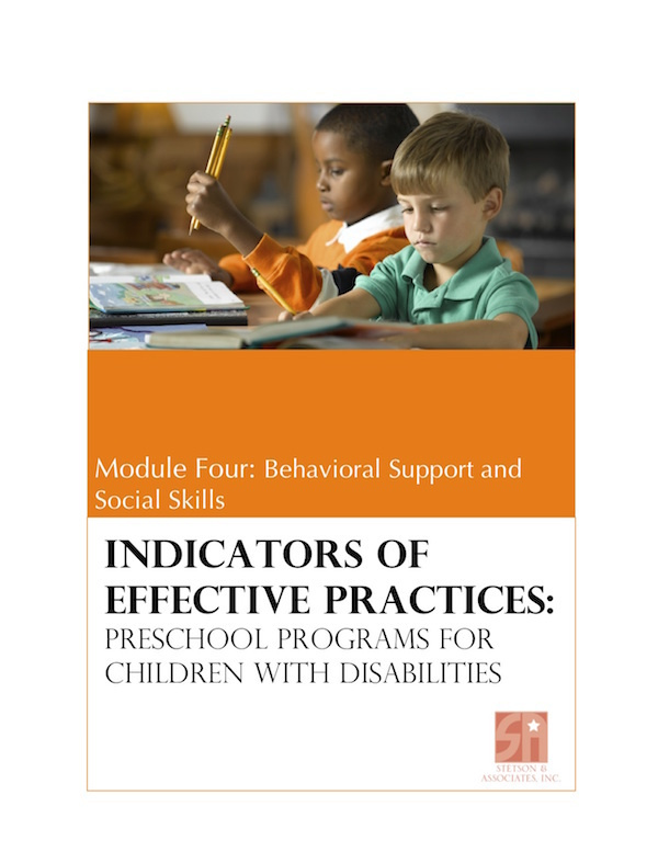 Preschool Programs for Children with Disabilities: Module 4 Behavioral Support and Social Skills 00040