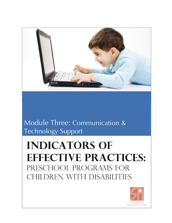 Preschool Programs for Children with Disabilities: Module 3 Communication and Technology Support 00041