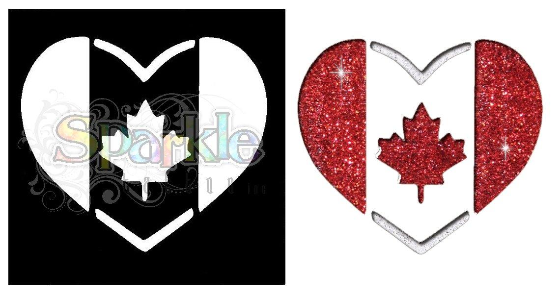Canada Heart Flag Stencil