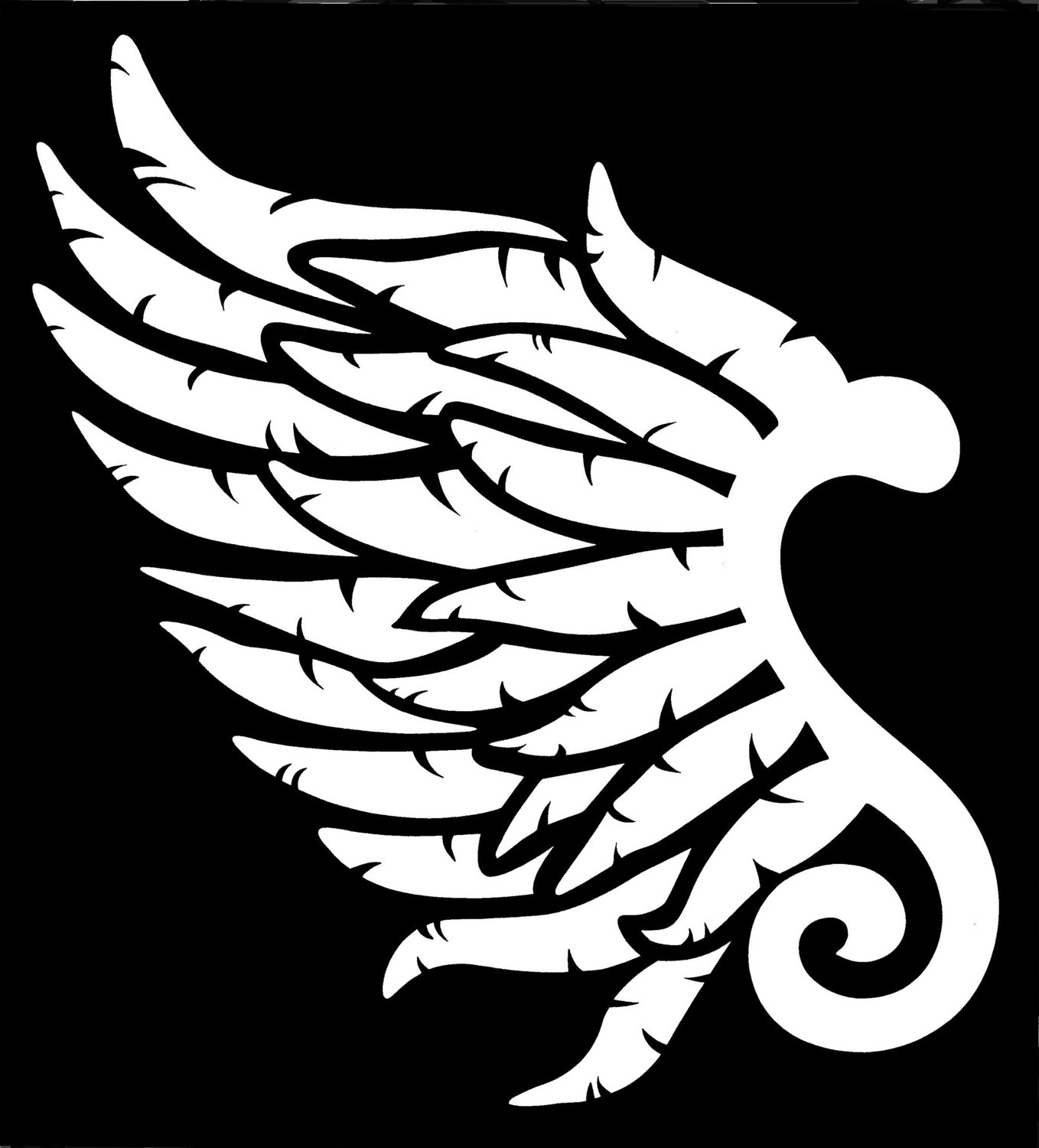 Left Angel Wing Stencil