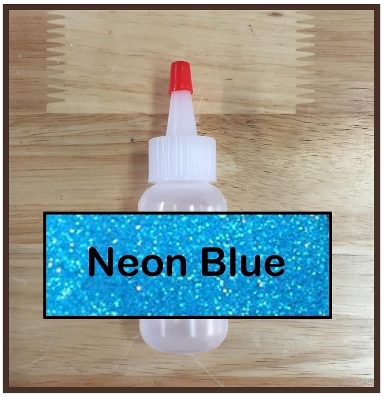 Neon Blue Glitter Poof