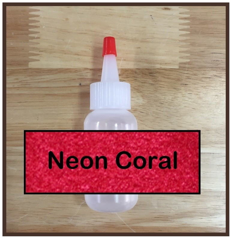 Neon Coral Glitter Poof