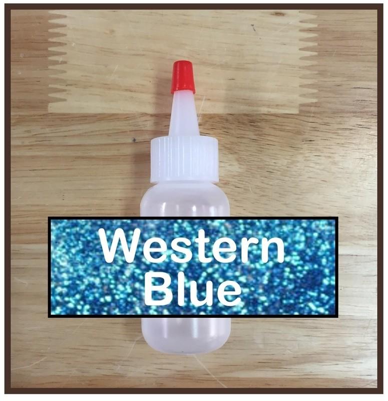 Western Blue Glitter Poof