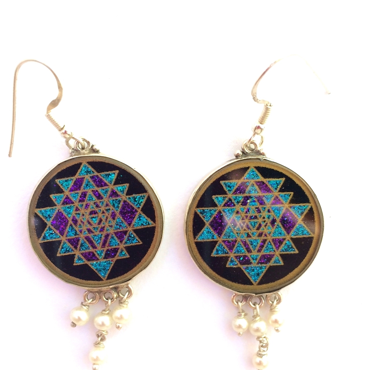 Sri Yantra Sacred Geometry Earrings (black tourmaline) by Scalar Heart Collection 708315056742