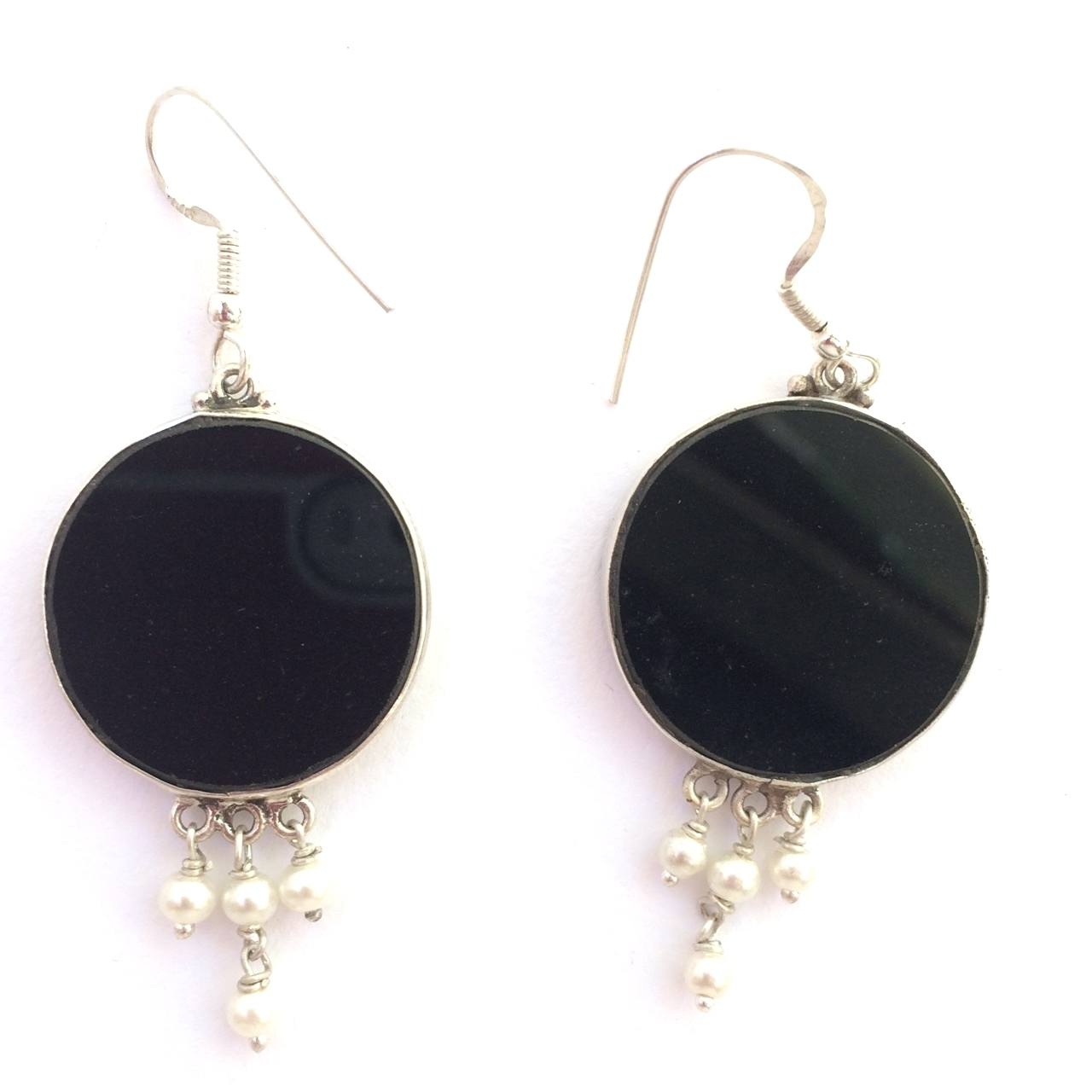 Sri Yantra Sacred Geometry Earrings (black tourmaline) by Scalar Heart Collection
