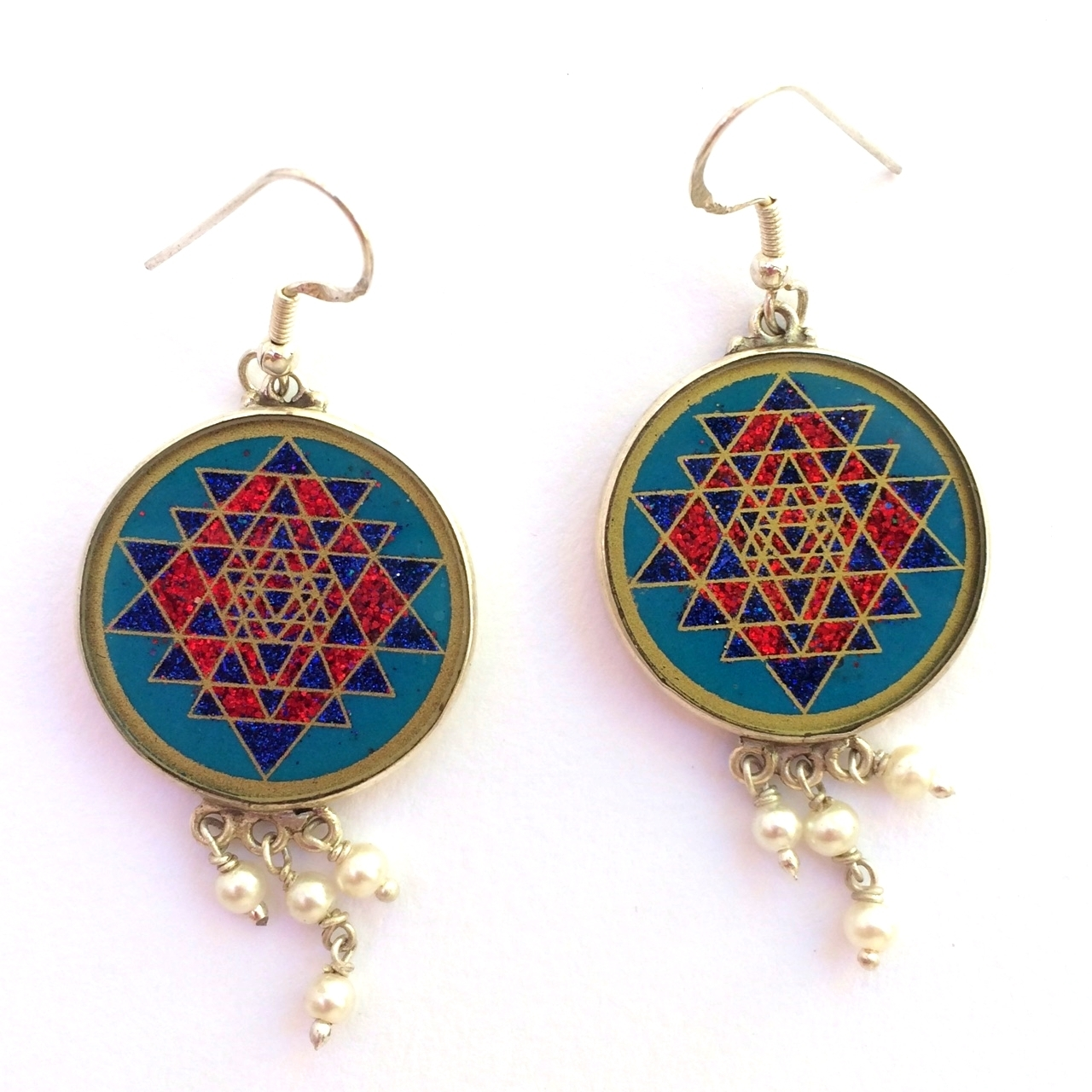 Sri Yantra Sacred Geometry Earrings (turquoise) by Scalar Heart Collection 708315056735