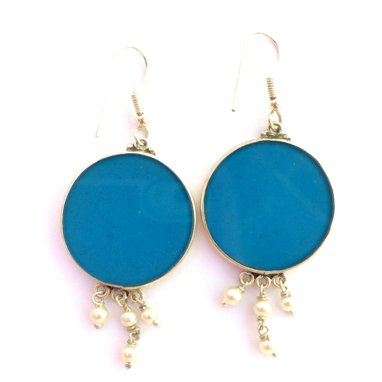 Sri Yantra Sacred Geometry Earrings (turquoise) by Scalar Heart Collection